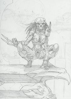 Female Predator sketch by -vassago- Anime Alien, Gato Anime, Alien Art, Predator Cosplay, Female Monster, Warrior Drawing, Alien Drawings, Alien Concept Art, Alien Vs Predator