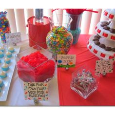 Dr Suess baby shower. Love this Idea and the red white and blue colors would be great for summer too!