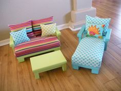 AVAILABLE for JANUARY 2014 - Doll Couch Chair Living Room Furniture for American Girl Doll - Studio Set with Chaise