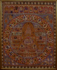 Antique Indian Textile. Painting on cotton from Jagannatha, Balabhadra, and Subhadra in the Jagannatha Temple.  1900-1900 A.D