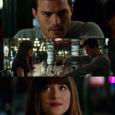 This moment when Ana and Christian start talking and the waiter arrives with the bottle of wine is so funny!