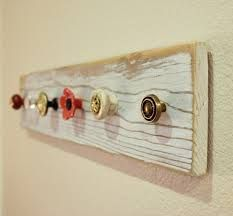 mismatched drawer handles made into hooks
