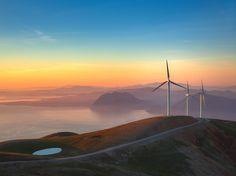 Wind Turbines at Sunset Image, Greece - National Geographic Photo of the Day Solar Energy, Solar Power, Renewable Energy, Wind Power, National Geographic Photo Contest, Sunset Images, Forever, Wind Turbine, Amazing Photography