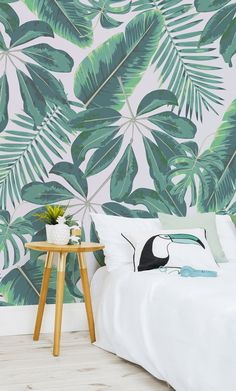 Mixed Tropical Leaves Wallpaper