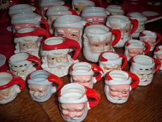 A very festive display of Father Christmas / Santa Claus mugs