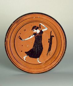 Plate The Manner of the Cleophrades Painter. Ancient Greek Art, Ancient Greece, Ancient History, Trip The Light Fantastic, Classical Greece, Greek Pottery, Hermitage Museum, Minoan, Pottery Painting