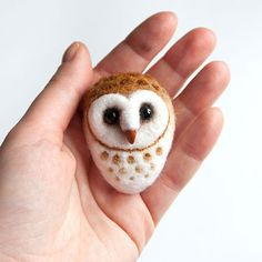 Barn Owl  Hand Felted Brooch  Wool Animal  Owl pin  by znmystery