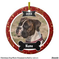 Christmas Dog Photo Ornament in Red