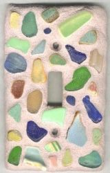 Crafts Made From Sea Glass | sea glass light plate a great use of glass with simple mosaic work