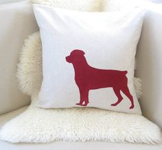 Rottweiler Pillow Cover Rottie Dog Silhouette by VixenGoods, $59.00