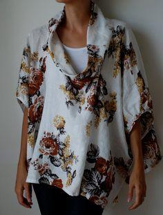 Herbst Farben florale Bettwäsche Kittel Kleid / top. Schokolade, Rost, Gold, Taupe, Creme. Plus Größe und Mutterschaft, u-Ausschnitt, Ärmeln. Eine Größe passt alle  DIESES KLEIDUNGSSTÜCK IST SOFORT LIEFERBAR.  Diese Kittel Kleid / Top wurde inspiriert durch ein 1960er Jahre Balenciaga Oper Mantel. Es hat eine atemberaubende, voluminöse Silhouette, die so kompliziert ist. Je nachdem, was Sie auf der Unterseite tragen verwandelt dieses Stück komplett. Es über Pop Leggings und Ballerin...