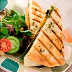 15 Healthy Lunch Recipes | Veggie and Cheese Panini with Mixed Green Salad 2 slices whole-grain bread  1 small zucchini, cut lengthwise into ¼-inch strips  4 slices tomato  2 slices 2 percent Cheddar  2 cups mixed greens  1 tsp. olive oil  2 tsp. balsamic vinegar  Salt and pepper