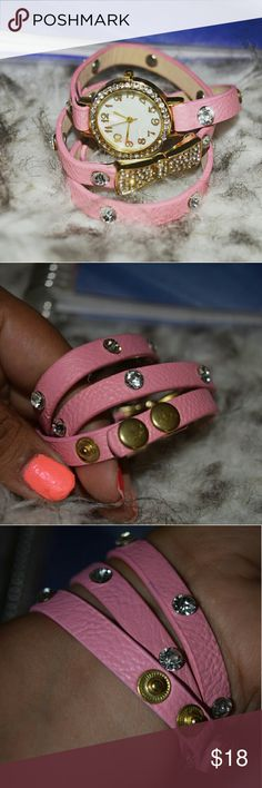Wrap around Wrist Watch Perfectly bubble gum pink. Glamorous rhinestones around watch.. with a cute bow as detail. Expanded claps as closure.  Any questions let me know. See pics for better description.  XNO TRADESX Hit me a reasonable offer. Follow me on IG @lilian.barillas Be a Trendsetter lilianbarillas Accessories Watches