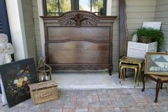 Antique French Bed Stunning Basket Carving Dark Oak Tall Back Louis XV Full Size #LouisXIIIXIVXVXVI #CraftsmenoftheEra