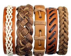 5 Piezas brazalete trenzado de cuero para por BraceletStreetUSA