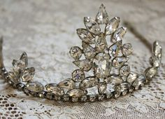 Exquisite Huge Vintage Sparkling Rhinestone Tiara at The French Laundry