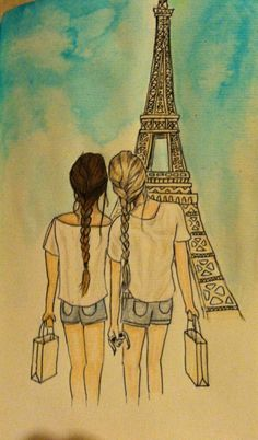 BFFs in Paris! Reminds me of myself and my BFF (if we ever went to Paris). Best Friend Drawings, Bff Drawings, Drawing Sketches, Drawing Of Best Friends, Pencil Drawings, Easy Drawings, Bff Pics, Friend Pictures, Art Du Croquis