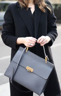 workwear, from day to night outfit, balenciaga bag, ines atelier rings, massimo dutti coat