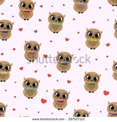 Seamless pattern with owls in colored tie bow