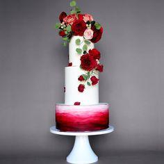 Modern Red Wedding Cake
