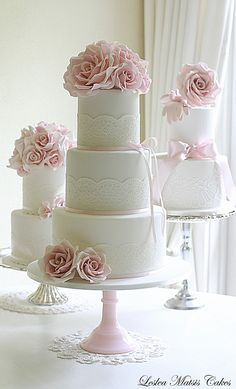 Pink roses and lace wedding cake   Flickr - Photo Sharing!