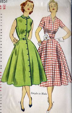 1950s Misses One Piece Dress Vintage day wear casual button down front short sleeves belt green red white checks solid full skirt