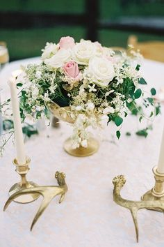 Whimsical Blush and Gold Alfresco Wedding Whimsical Wedding Theme, Gold Wedding Theme, Floral Wedding, Wedding Ideas, Dream Wedding, Blush Centerpiece, Wedding Table Centerpieces, Centrepieces, Diy Wedding Dress