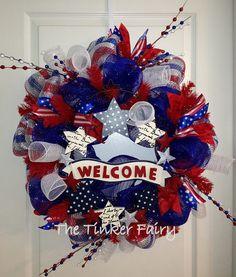 Patriotic Welcome Sign Deco Mesh Wreath
