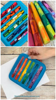 Recycled Crayons - How to Make Crayons - The Kitche .- Recycling-Buntstifte – Wie man Buntstifte macht – The Kitchen Table Classroom Recycled Crayons – How to Make Crayons – The Kitchen Table Classroom pencils - Crafts To Do, Easy Crafts, Arts And Crafts, Music Crafts, Diy Crafts Table, Creative Crafts, Handmade Crafts, Wood Crafts, New Crafts