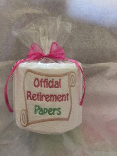 Unique Retirement Gift,  Office party Decor, Gag Gift for office, Embroidered toilet paper, Party favor by ExpressionsByNancy on Etsy