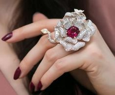 How gorgeous is this rose ring by José Maria Goni who is currently exhibiting at the Hong Kong show booth number The cocktail piece features a cts rubellite in the centre surrounded by cts colourless diamonds and one yellow diamond. Jewelry Show, Jewelry Model, High Jewelry, Gems Jewelry, Bridal Jewelry, Jewelry Art, Diamond Jewelry, Jewelry Gifts, Jewelry Accessories