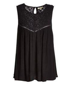 Jennifer & Grace Black Lace-Accent Swing Top | zulily