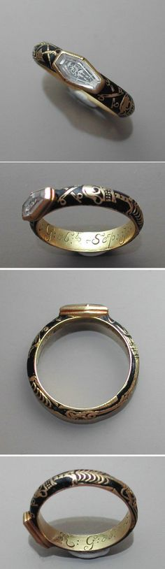 This particular ring is from 1728. I love this piece. Inside the ring is the initials of the person being mourned and the dates. The ring itself is black, and an elongated skeleton i