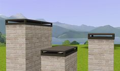 Decorative Chimney Caps A set of three simple chimney caps for more modern-looking homes. I made these last week for a house I'm working on and thought someone out there might like them. Chimney Cowls, Chimney Cap, Mid Century Exterior, Stone Chimney, Brick And Mortar, Modern Exterior, Grey Exterior, Mid Century House, Custom Homes