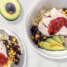 Cauliflower Rice Burrito Bowl | New World Cooking Chicken To Shred, How To Cook Chicken, Weekly Recipes, Corn Kernel, Canned Black Beans, Frozen Corn, Fresh Coriander, Cauliflower Rice, Meals For The Week