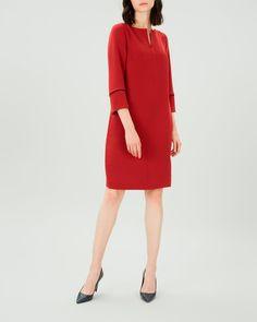 029cd2cc48e10 Dark Red Crepe Piping Detail Dress