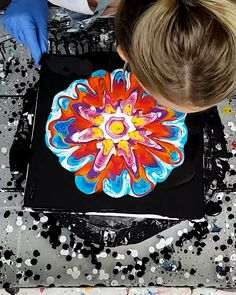 """When people see that I am flexible, they have among several reactions: """"Hey, me too! Canvas Painting Tutorials, Diy Canvas Art, Acrylic Pouring Art, Acrylic Art, Colorful Paintings, Resin Art, Art Tutorials, Pour Painting, Dripping Paint"""