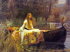Beautiful girl, boat, quilt, scene  Lady of Shallot