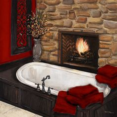 Fireplace Bath I Art Print by Hakimipour-Ritter