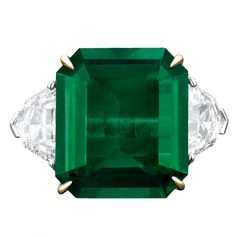 1STDIBS.COM Jewelry & Watches - Natural Colombian Emerald Ring & Diamond Ring - MS Rau Antiques