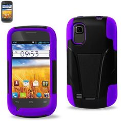 Reiko Silicon Case+Protector Cover ZTE Z993 Z992 Prelude/ Avail Purple Black New Type Kickstand