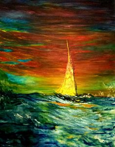 "Original Oil Painting large 24x30 Seascape sailboat ""Red Sky at Night"" signed"