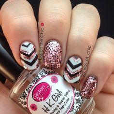 Chevrons and Pink Hex Glitter Nails
