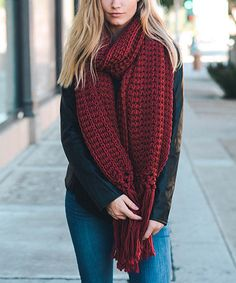 Another great find on #zulily! Red Chunky Fringe Scarf #zulilyfinds