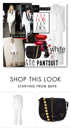 """""""The Pantsuit - White Worn By Cara Delevingne & Kendall Jenner"""" by nikkisg ❤ liked on Polyvore featuring Chanel, Yves Saint Laurent, Jérôme Dreyfuss, Versace, CaraDelevingne, kendalljenner and thepantsuit"""