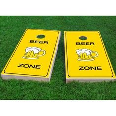 "Custom Cornhole Boards Bright Yellow Beer Zone Cornhole Game Size: 48"" H x 24"" W, Bag Fill: Whole Kernel Corn"