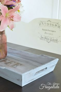 Chalk painted thrift store wooden tray transformation | The Interior Frugalista
