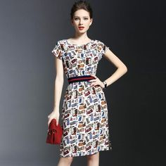 Silk Dress For Women Summer 2016 Elegant O-neck Colourful Printed Vestidos Lady Bright Colourful Haute Couture Women Fashion Rare Nice Beautiful Pretty Classy Vintage Style Girl Chic Stylish Inspiration Idea European Wear Clothing Outfit Look Sexy Street