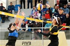 Italy's Viktoria Orsi Toth (left) and Spain's Elsa Baquerizo McMillan duel at the net