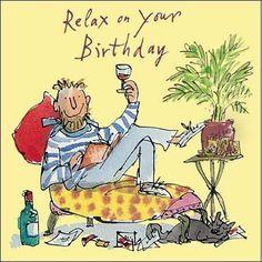 Happy Birthday Art, Happy Birthday Pictures, Happy Birthday Greeting Card, Birthday Cards For Friends, Happy Birthday Messages, Man Birthday, Quentin Blake, Best Birthday Wishes Quotes, Birthday Images For Men